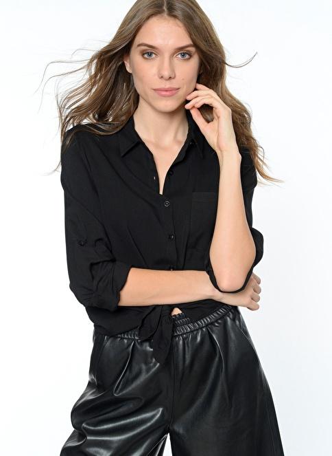 People By Fabrika Uzun Kollu Gömlek Siyah